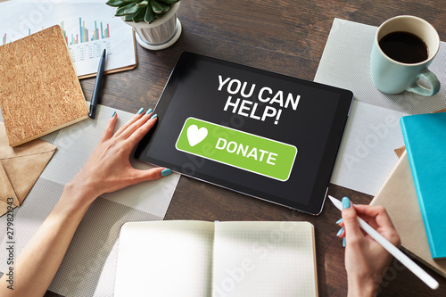 Papiers peints Nature Help and donation button on device screen.