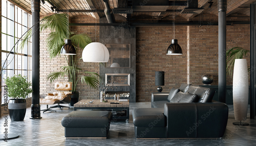 Fototapeta Living room loft in industrial style ,3d render