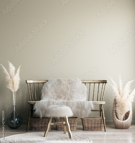 Fotobehang Boho Stijl Home interior mock-up with old bench, Scandinavian bohemian style, 3d render
