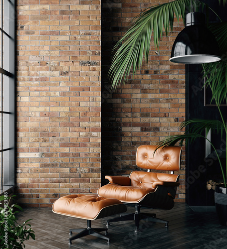 Living room loft in industrial style ,3d render
