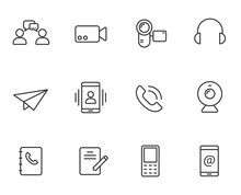 Media Communication Outline Vector Icons Set Isolated On White Background. Internet Communication Concept. Communication Flat Icons For Web And Ui Design