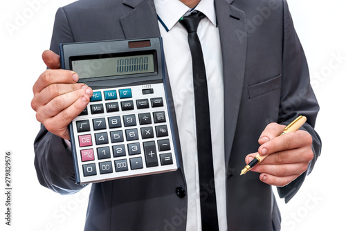 Recess Fitting Countryside Man in suit showing calculator isolated on white