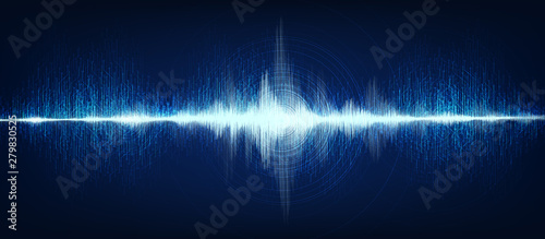 Fotografía  Electronic Digital Sound Wave with Circle Vibration on Light Blue Background,technology and earthquake wave diagram concept,design for music studio and science,Vector Illustration