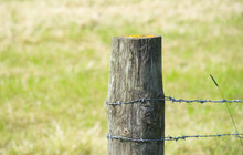 Wooden Post Barbed Wire