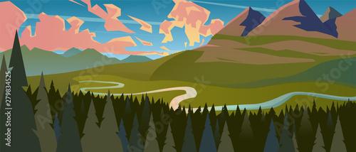 Foto op Canvas Khaki Modern landscape background trees and mountain peaks