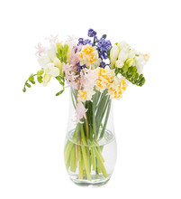 Colorful Flowers In Vase Isolated On White Background.