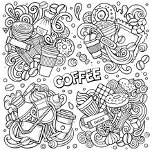 Line Art Vector Hand Drawn Doodles Cartoon Set Of Coffee Combinations Of Objects