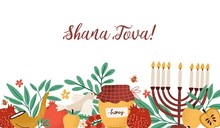 Rosh Hashanah Horizontal Banner With Shana Tova Inscription Decorated By Menorah, Shofar Horn, Honey, Apples, Pomegranates And Leaves. Flat Cartoon Vector Illustration For Jewish Religious Holiday.