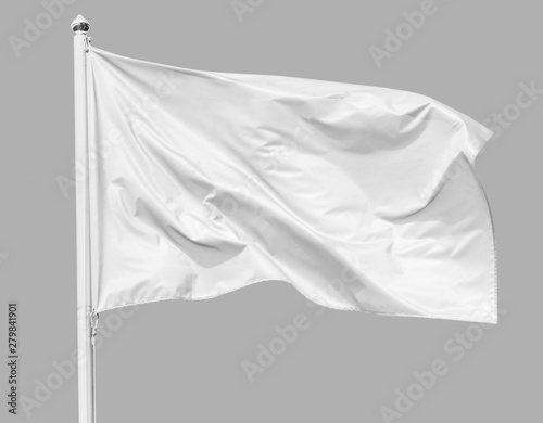 White flag waving in the wind on flagpole, isolated on gray background, closeup Fototapete