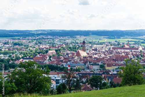 panoramic view of the city amberg bavaria germany Canvas Print