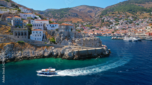 Recess Fitting Mediterranean Europe Aerial drone photo from picturesque main town of Hydra or Ydra island, Saronic gulf, Greece