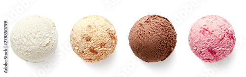 Obraz Set of four various ice cream balls or scoops - fototapety do salonu