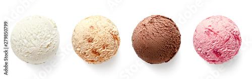 Set of four various ice cream balls or scoops Obraz na płótnie