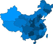 Blue Outline China Map On Whit...
