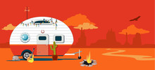A Camper Trailer In A Western American Desert Landscape, EPS 8 Vector Illustration