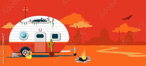 Obraz na plátně  A camper trailer in a Western American desert landscape, EPS 8 vector illustrati