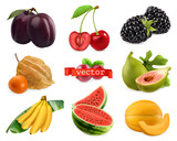 Fresh fruits and berries. Plum, cherry, blackberry, physalis, figs, banana, watermelon, melon. 3d realistic vector set