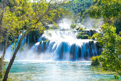 Photo Stands Trees Long-Exposure Image of Krka Waterfall in Croatia
