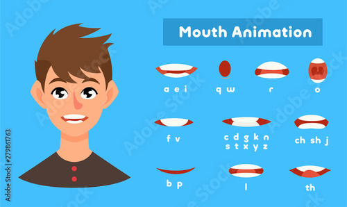 Mouth animation set, communication and language symbols Canvas Print