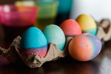 Close Up Of Dyed Easter Eggs I...