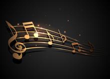 Gold And Black Music Notes Design Illustration