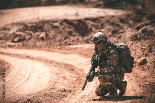 Valokuva  Soldiers of special forces on wars at the desert,Thailand people,Army soldier Pa