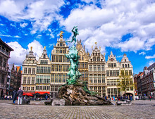 Grote Markt Square With Famous Statue Of Brabo And Medieval Guild Houses In The Fairy Town Of Antwerp, Belgium