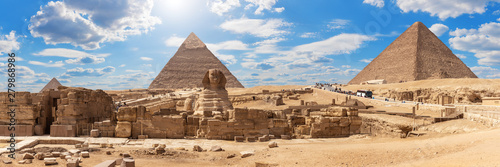 Giza Pyramids and the Sphinx, beautiful Egyptian panorama