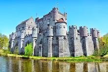 Medieval Gravensteen Castle (Castle Of The Counts) In Ghent, Belgium.