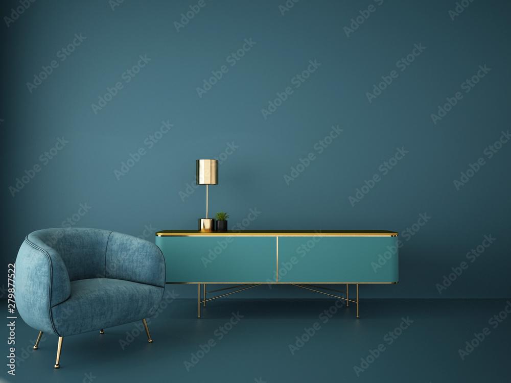 Fototapety, obrazy: interior design for living area or reception in modern concept design/ 3d illustration,3d rendering