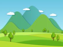 Paper Field Landscape. Summer ...