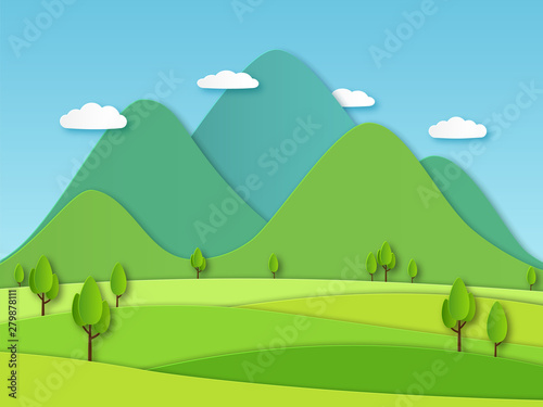 Poster Lime groen Paper field landscape. Summer landscape with green hills and blue sky, white clouds. Layered papercut creative vector 3d nature image