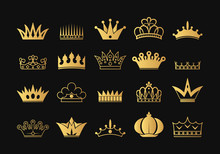 Collection Hand Drawn Kings And Queens Golden Crown Outlines And Silhouettes. Vintage Gold Royal Heraldic Symbols. Imperial Diadem Icons.