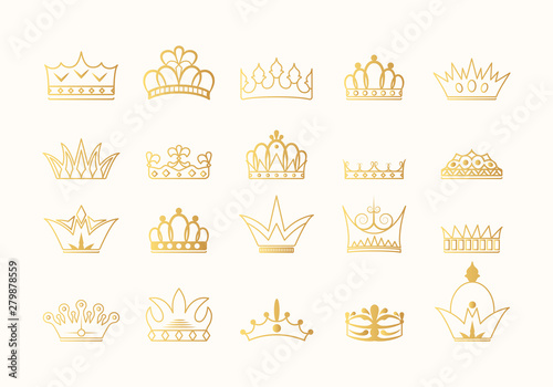 Fotografie, Obraz  Hand drawn kings and queens golden crown silhouettes collection