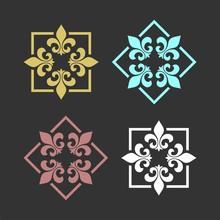 Set Heraldic Lily Flower Ornamental Fleur De Lis Logo Template Illustration Design. Vector EPS 10.