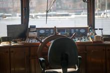 Wooden Captain Bridge And Steering Wheel
