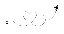 Love Travel Airplane Route. Romantic Line Heart Dashed Trace And Plane Routes. Vector Icon Of Air Plane Flight Route With Start Point And Hearted Airplane Path