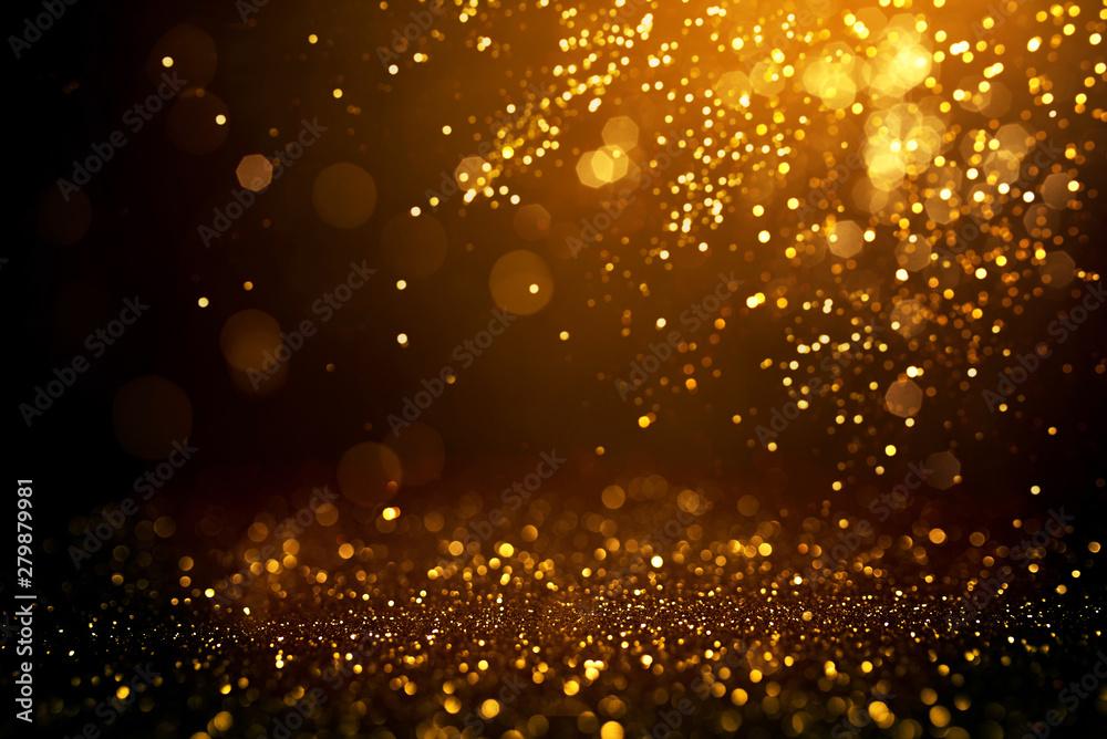 Fototapety, obrazy: Golden abstract bokeh on black background.