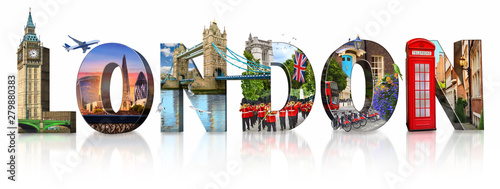 Foto auf AluDibond London roten bus London city landmarks. Word illustration of most famous London monuments and places