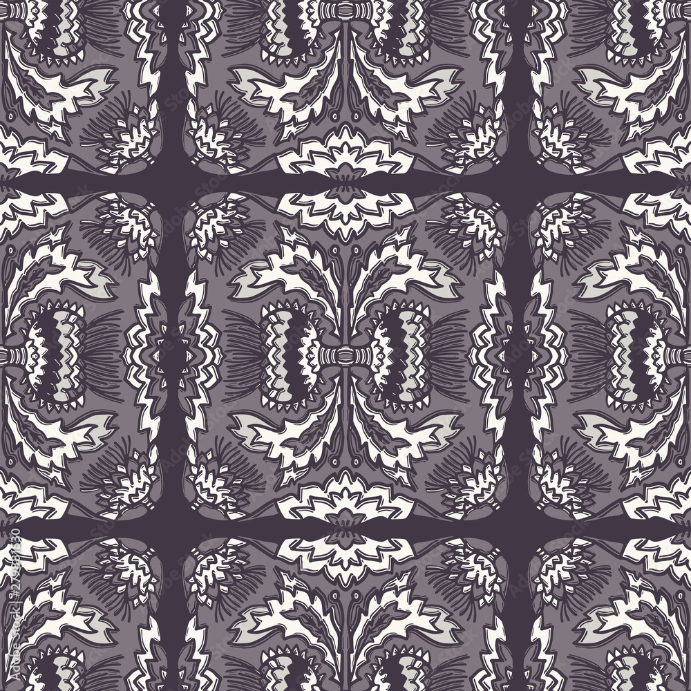Floral thistle leaf flower motif seamless pattern. Trendy ornate monochrome damask all over print.