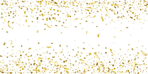 Golden glitter confetti on a white background.