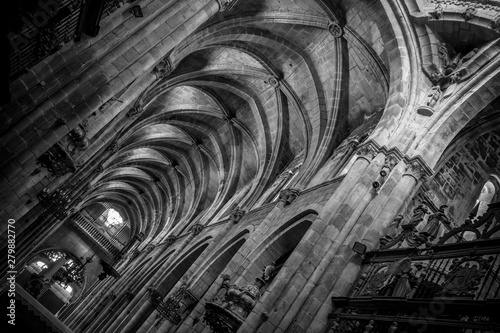 Medieval Gothic architecture inside a cathedral in Spain. Stones and beautiful ashlars forming a dome