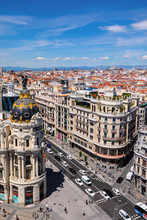 Elevated View Of Metropolis Building, Grand Via And Madrid, Madrid, Spain