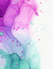 Alcohol Ink Abstract Ombre Blend Of Green And Pink With Ink Splatters