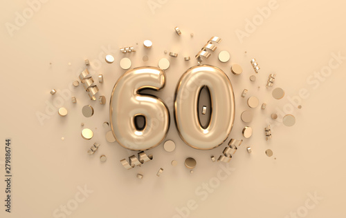 Golden 3d number 60 with festive confetti and spiral ribbons Tableau sur Toile