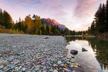 Sunset At Avalanche Creek, Glacier National Park, Montana, USA