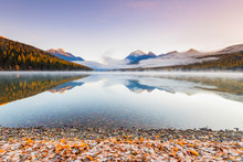 Autumn At Bowman Lake, Glacier National Park, Montana, USA