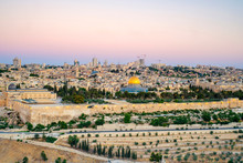 Israel, Jerusalem District, Jerusalem. Jerusalem Skyline, Dome Of The Rock On Temple Mount, And Buildings In The Old City At Sunrise.