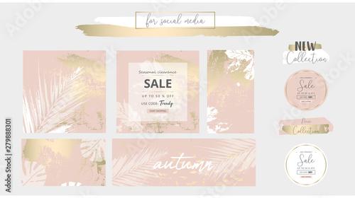 Fotografie, Obraz  Elegant social media trendy chic gold pink blush banner