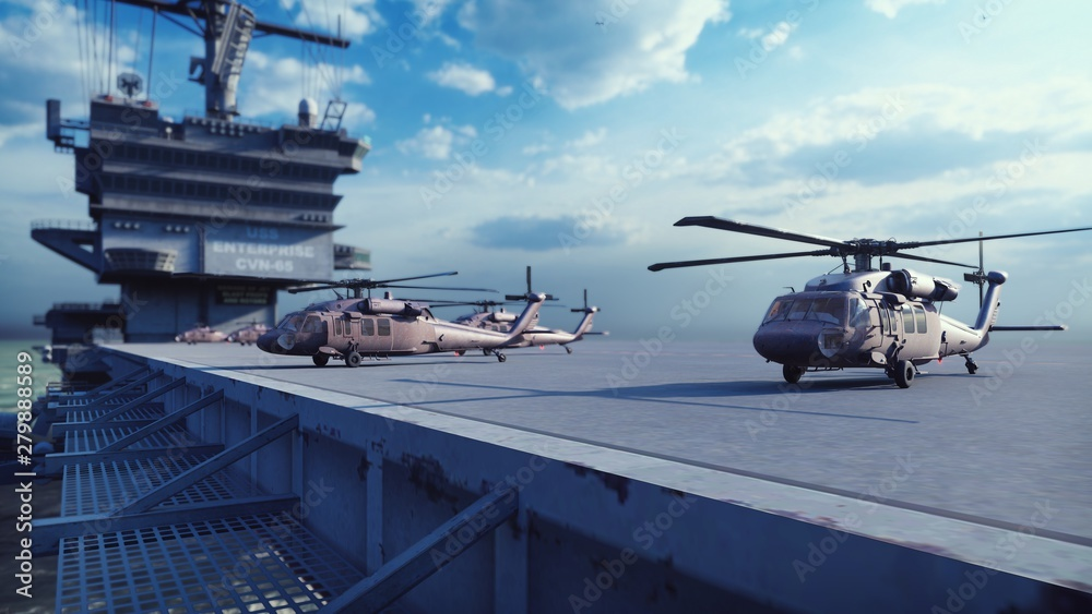 Fototapety, obrazy: Military helicopters Blackhawk take off from an aircraft carrier at clear day in the endless blue sea. 3D Rendering